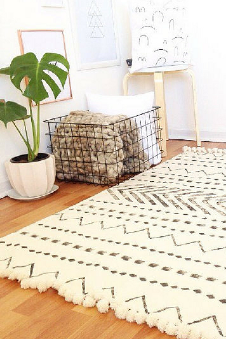 White area rugfloor rugscarpethome decorminimalist rugblack and white rugwhite rugrugs boho bedroom ad