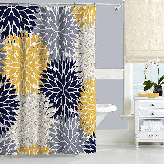 Order BEFORE December 1 To Receive It In Time For Christmas Floral Shower Curtain Tones Of Navy Blue Gray Yellow And Beige With Chrysanthemum