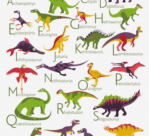 dinosaur alphabet alphabet poster
