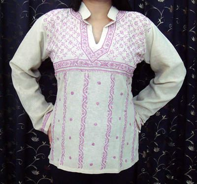 Womens SMALL MED LARGE XLARGE ETHNIC Tunic Blouse Tank Top BEIGE SUMMER COTTON