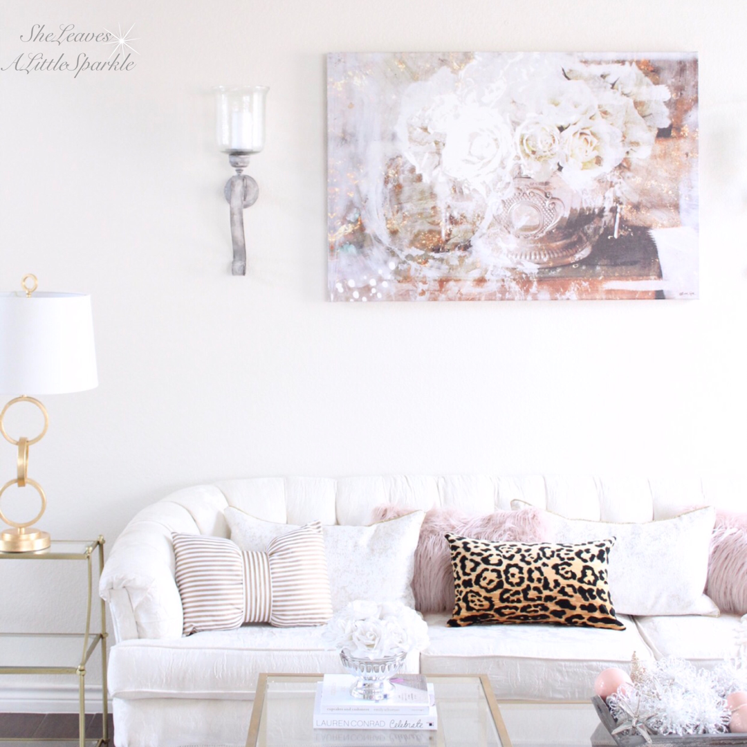 Leopard and blush pillows! And love that Oliver Gal Art \