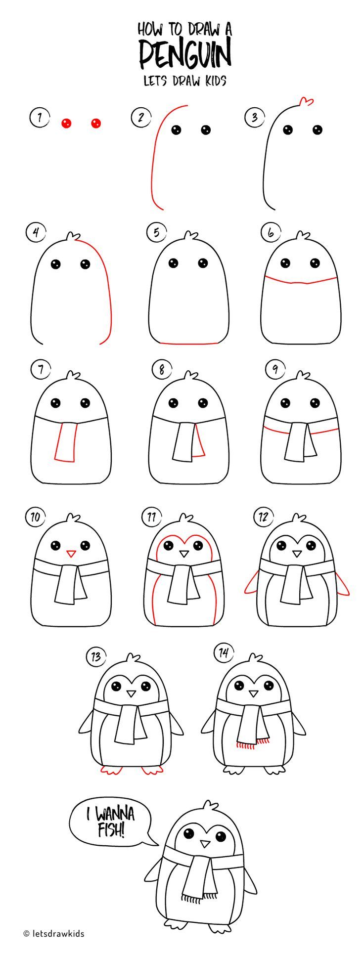 How to draw a Penguin. Easy drawing, step by step, perfect ...