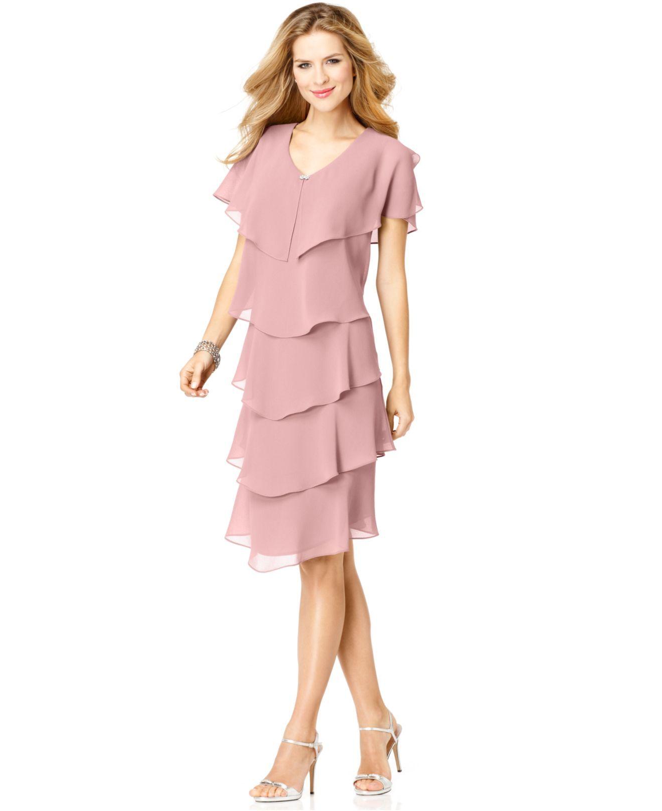 Women\'s Pink Short-Sleeve Tiered Dress
