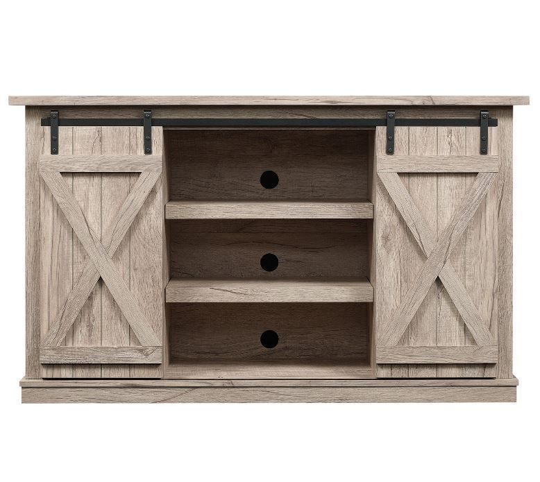 """Rustic TV Stand Console Up To 60"""" Barn Door Wood Farmhouse"""