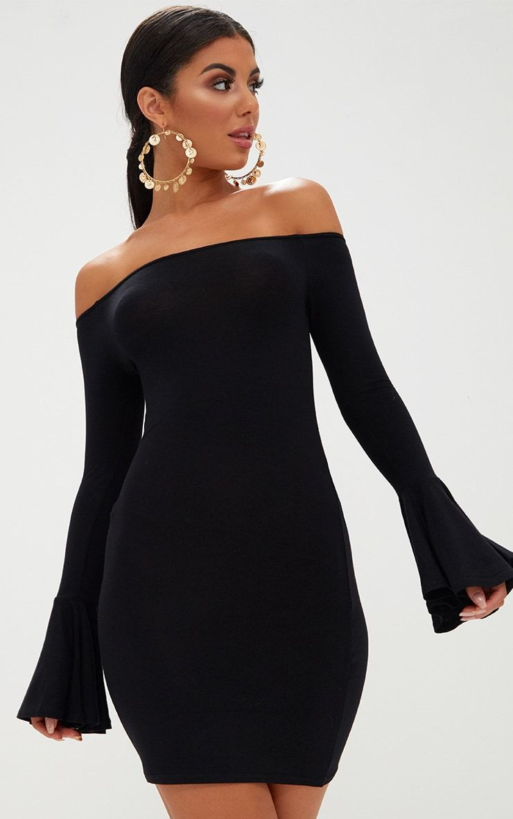 Black bardot frill detail bodycon dress outlet apparel