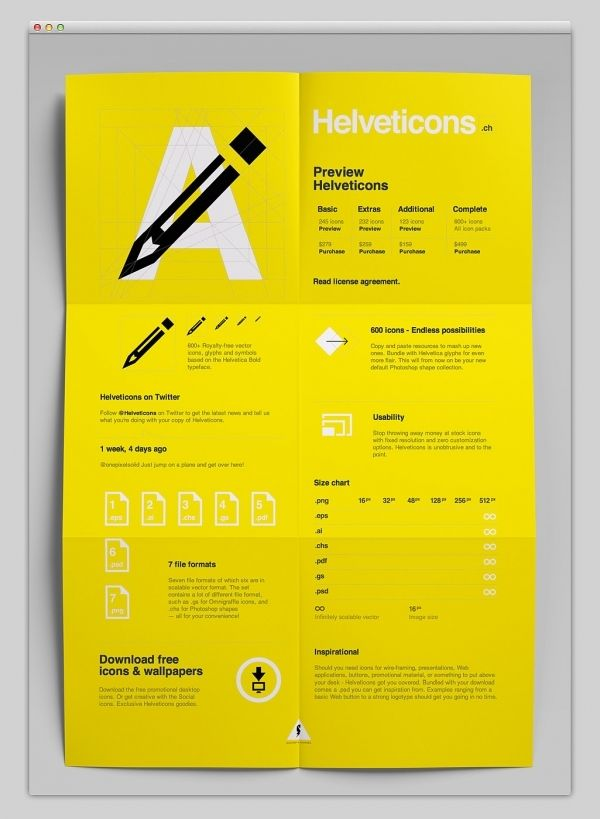 Helvetica inspired poster design black white and yellow graphics