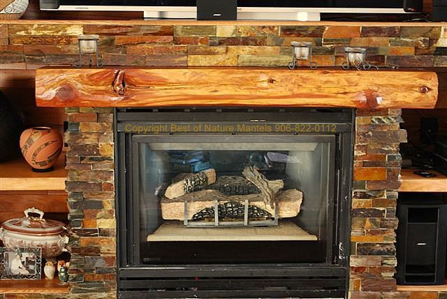 rustic wood fireplace mantel