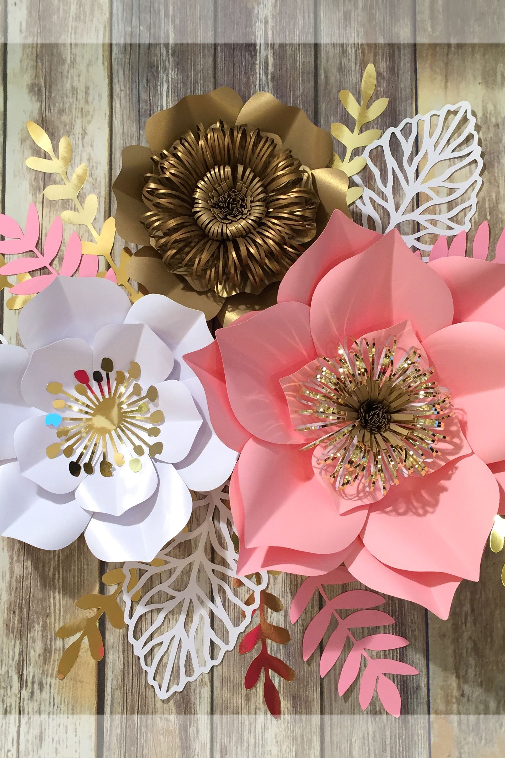 Large Paper Flowers Wall Decor Pink Gold Birthday Party Decor
