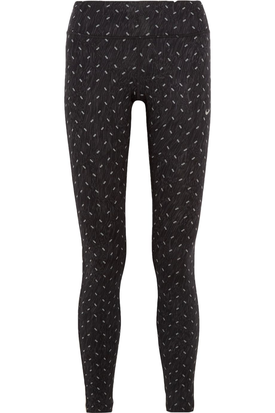 NIKE Power Epic Run printed stretch-jersey leggings Black and light-gray  stretch-