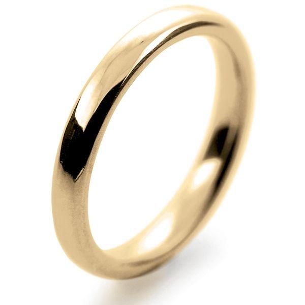 9ct Yellow Gold Court Wedding Band 3mm-6mm Medium Weight