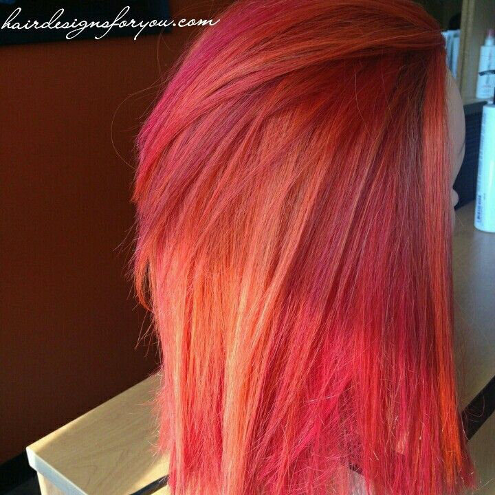 Fire red and orange hair