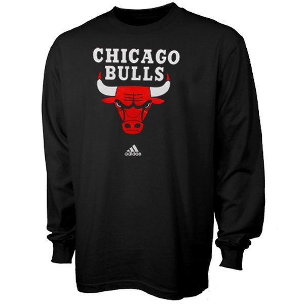 059e1d55a adidas Chicago Bulls Primary Logo Long Sleeve T-Shirt - Black - NBA Store