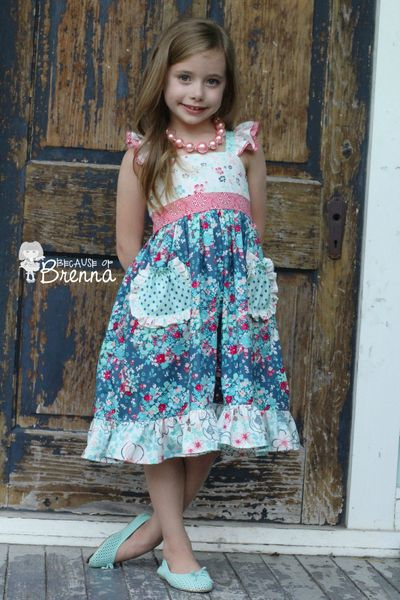 New pattern by Create Kids Couture; Dahlia's Double Flutter Pocket Top, Dress & Maxi PDF Pattern; Dress made by Because of Brenna