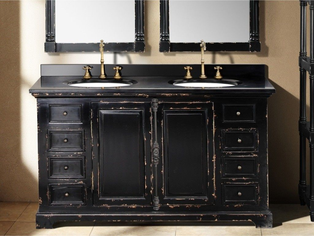 59.25 Inch Antique Black Double Sink Vanity. Shabby Chic ...