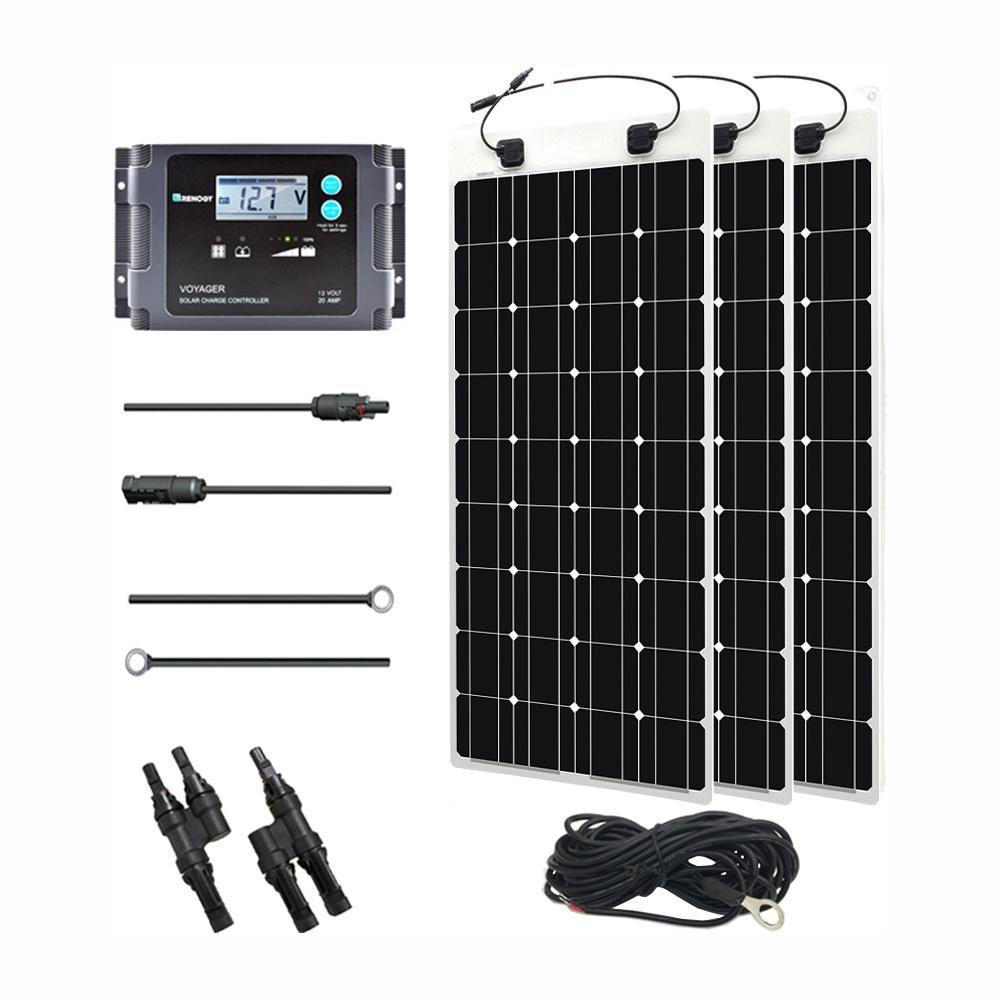 Renogy 300 Watt 12 Volt Monocrystalline Off Grid Solar System Solar Marine Kit Mar300dbvoy20ts The Home Depot In 2020 Off Grid Solar Best Solar Panels Solar Energy Panels