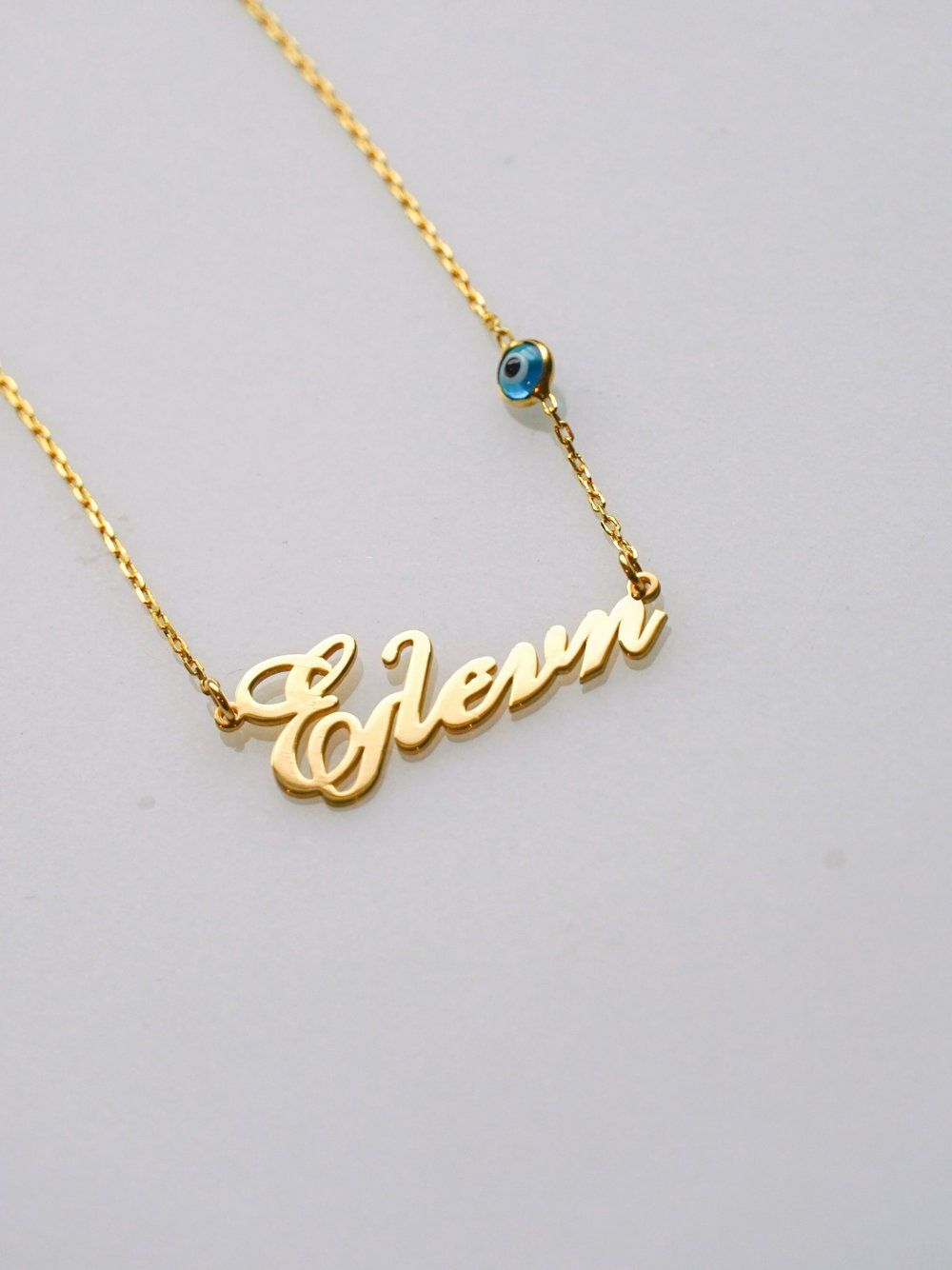 Elenh Eleni Nameplate Necklace Greek And English Nameplate Necklaces Made In Greece Evile Nameplate Necklace Beautiful Necklaces 14k Solid Gold Necklace