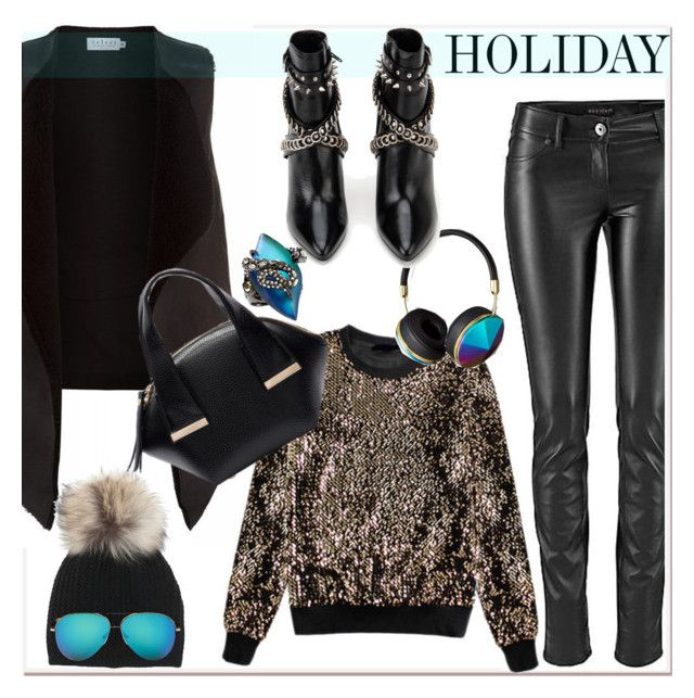 """""""leather pants  and sequin sweatshirt"""" by paculi ❤ liked on Polyvore featuring Velvet by Graham & Spencer, Abercrombie & Fitch, Yves Saint Laurent, Inverni, Victoria Beckham and Alexis Bittar"""