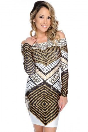 cef1df01654 Sexy White Black Long Sleeve Off The Shoulder Bodycon Party Dress ...