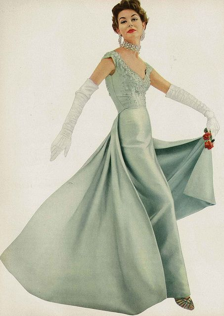 Love the color - looks like Academy Awards material. November Vogue 1953!