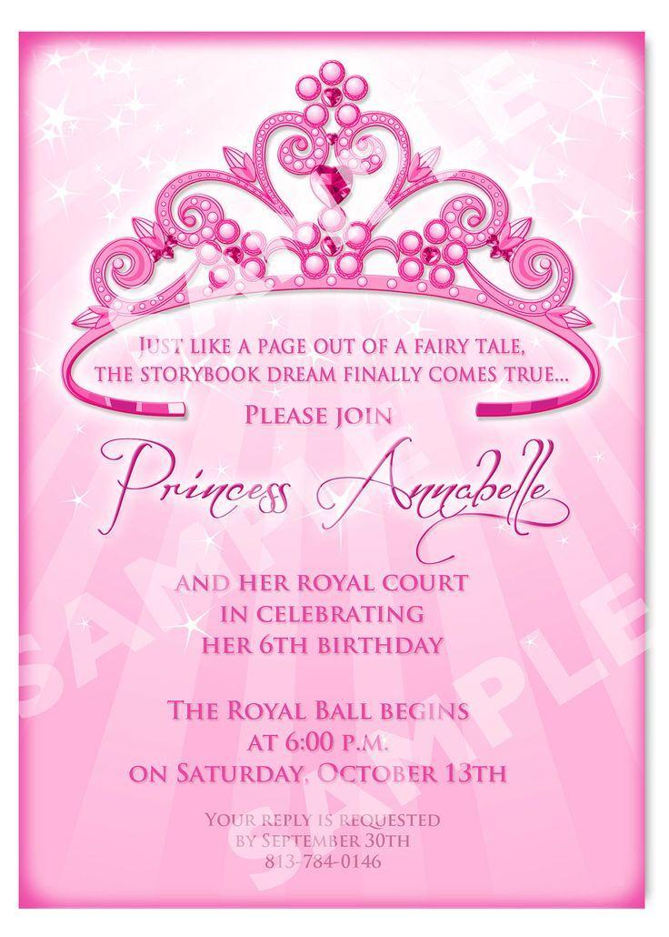 princess 7th birthday invitation card