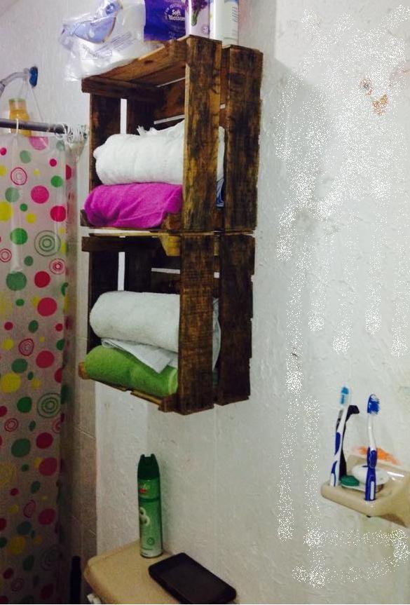 Cajas recicladas de madera en baño. Hazlo tu mismo ...