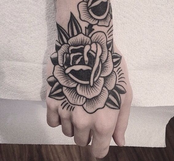 Hand Rose Christian Lanouette Traditional Hand Tattoo Hand Tattoos Traditional Rose Tattoos