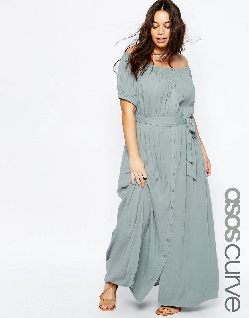 Image 1 of ASOS CURVE Off Shoulder Maxi Dress with Tie Waist | To ...