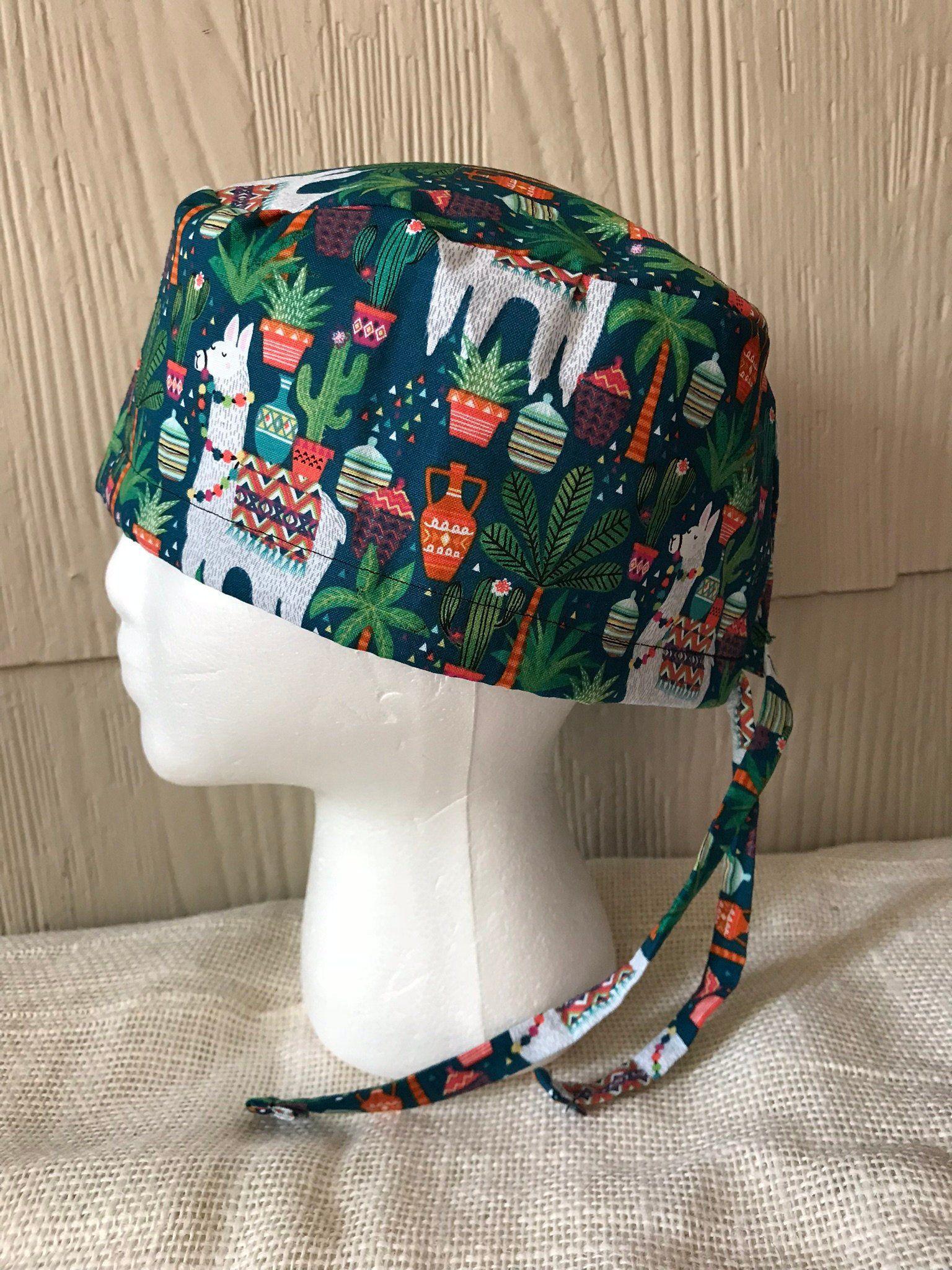 Scrub hats nurse scrub cap ponytail scrub cap lama cactus womens surgical hat