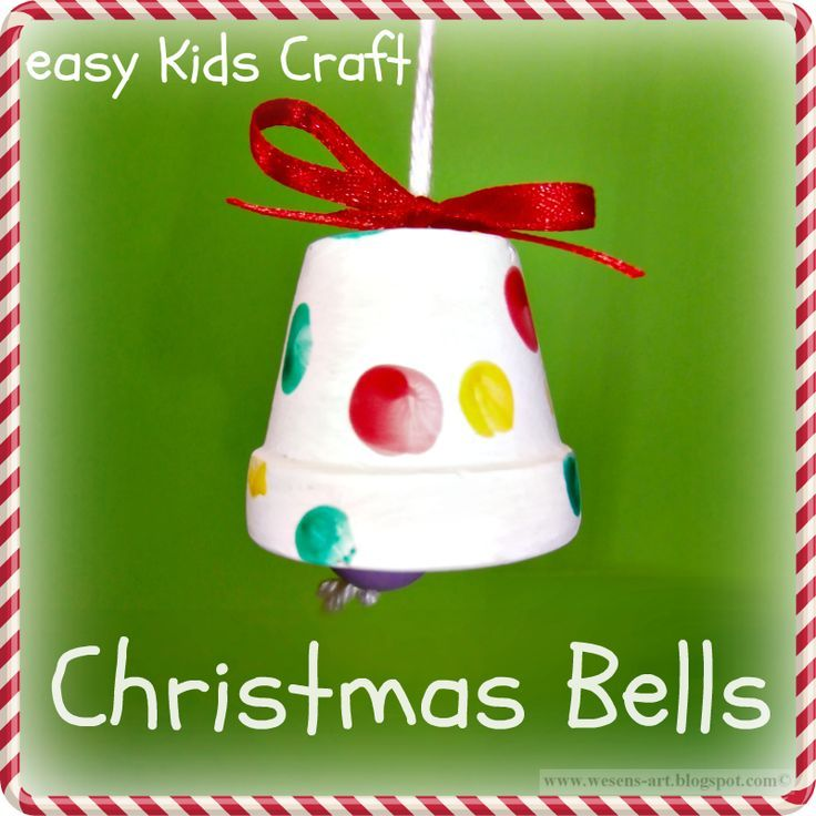 Arts And Crafts Ideas For Christmas Gifts Part - 46: Christmas Bells Easy Kids Craft... Made From Painted Clay Pot, But .