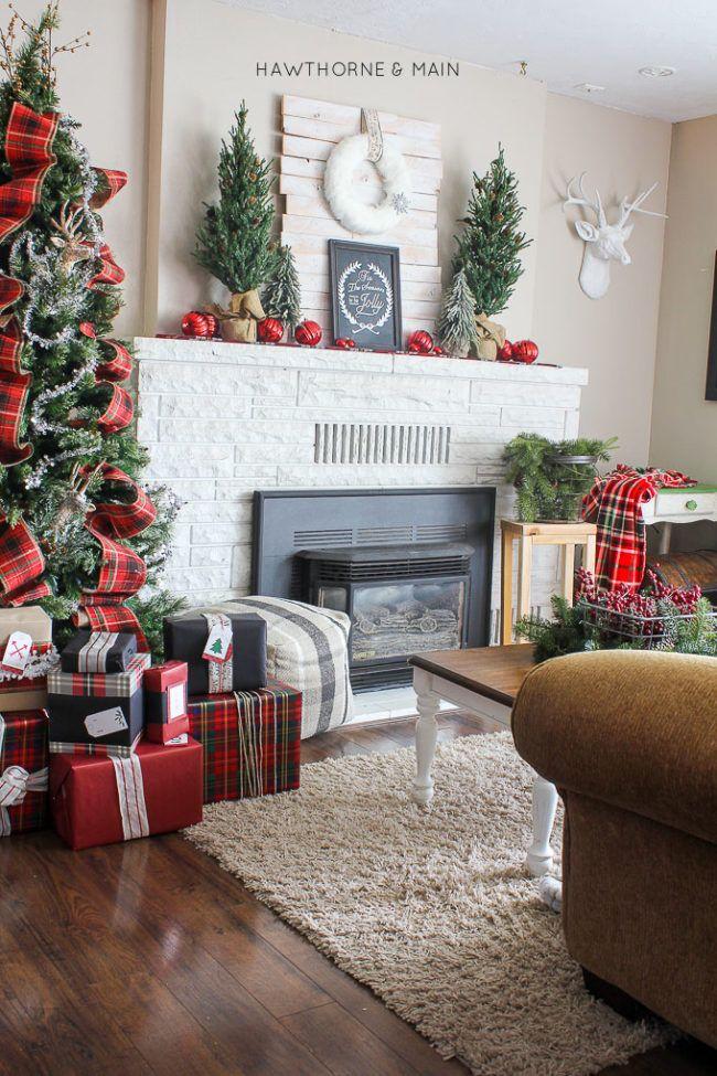 rustic-plaid-holiday-christmas-fireplace-decor-e1508974905160jpg - christmas fireplace decor