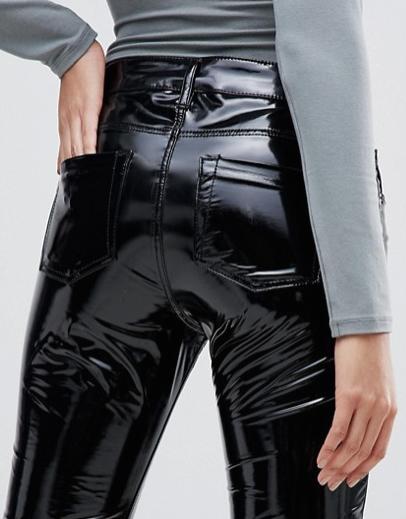 3204627115b ASOS high Shine Black Vinyl Jeans