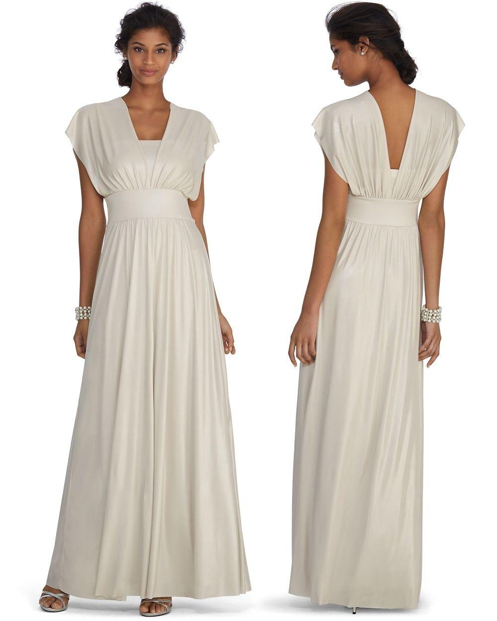 Genius Metallic Convertible Champagne Bridesmaid Gown