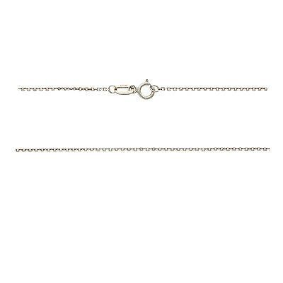"20"" 0.7 mm. Square Link Necklace Gold Chain 14kt White Gold"