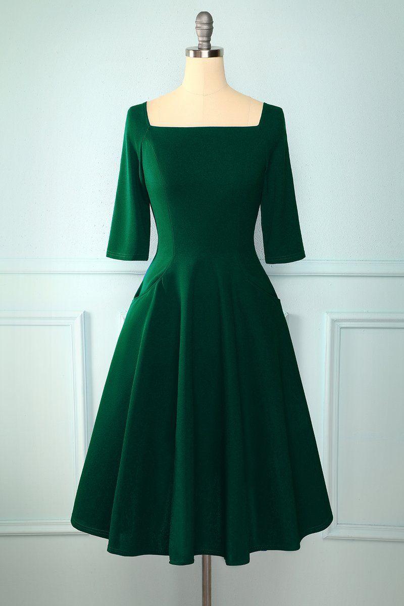 Long Sleeves Vintage Dress With Pocket Vintage Dresses Long Sleeve Vintage Dresses Vintage Green Dress [ 1200 x 800 Pixel ]