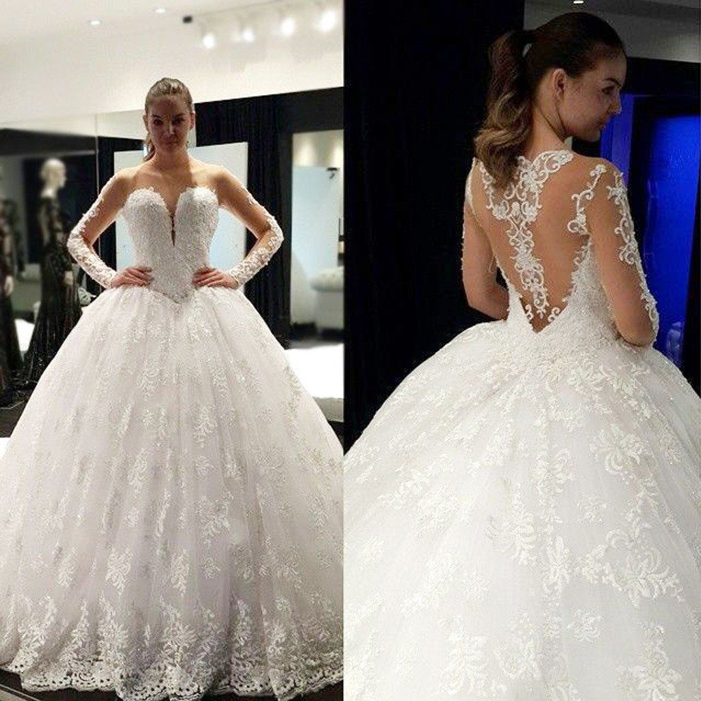 Lace ball gown wedding dresses  Cheap Stunning Scoop Neck Long Sleeve Lace Ball Gown Wedding Dresses