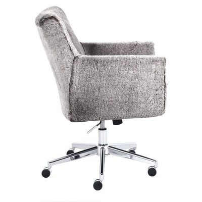 Style Ashland Faux Fur Home Office Chair Gray Serta Adult