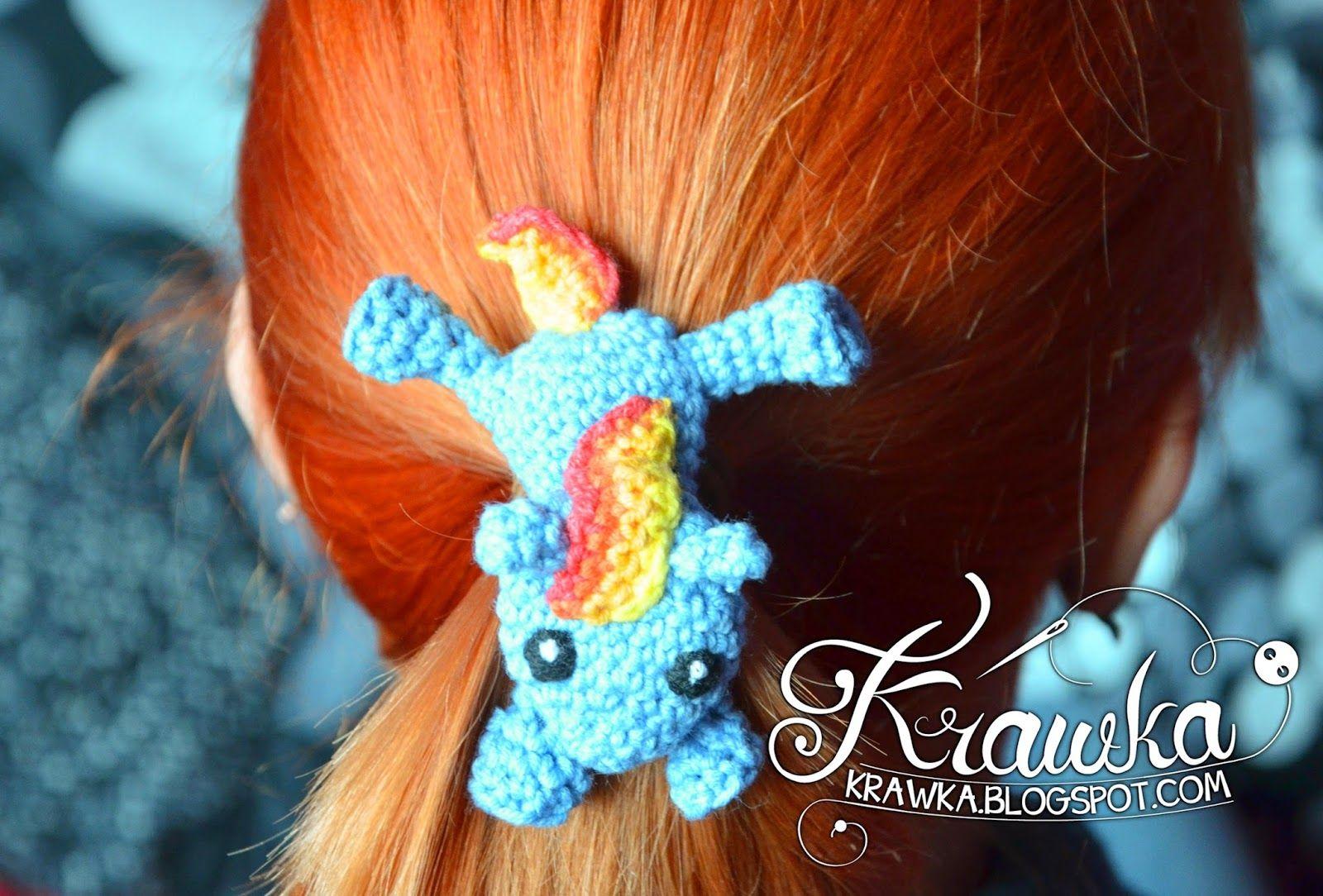 Krawka: Crochet hair clip - My little Pony - Rainbow Dash - free ...
