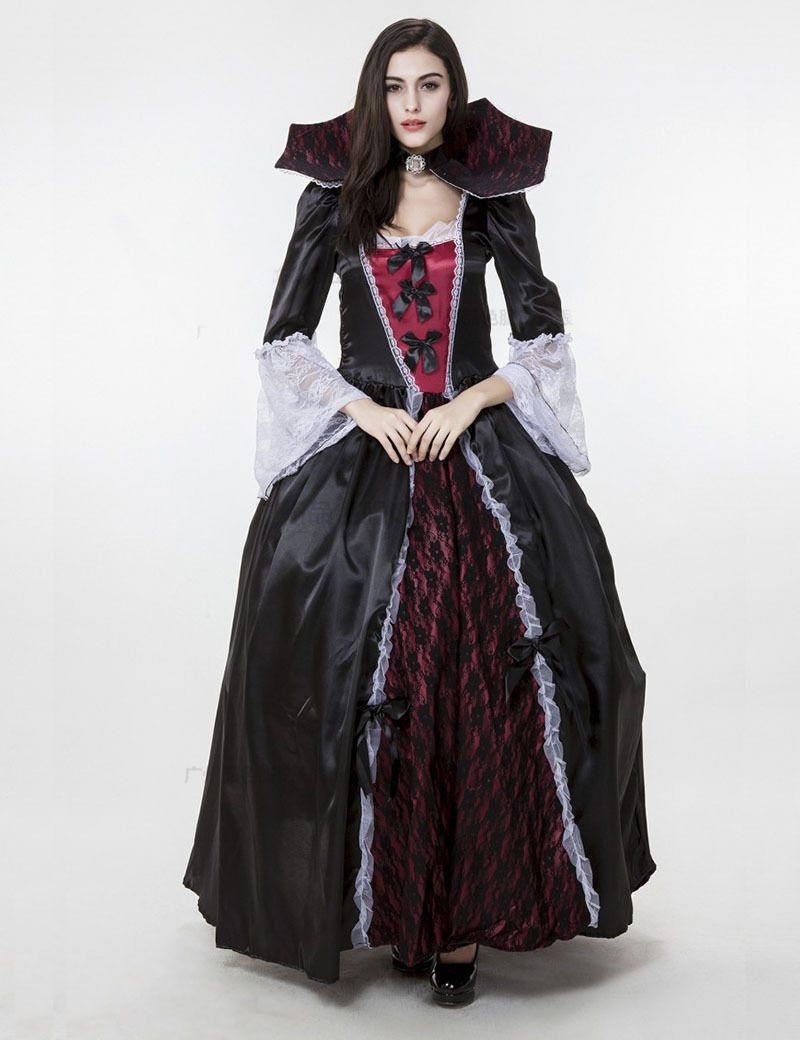 New Luxury Adult Female Halloween Gothic Vampire Queen Costume Vicious  Witch Zombie Uniform European Retro Palace Queen Clothes