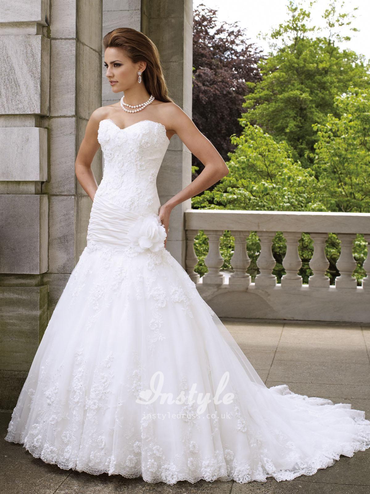 Strapless Sweetheart Crystals A Line Beautiful 3d Flower Wedding Dress Uk