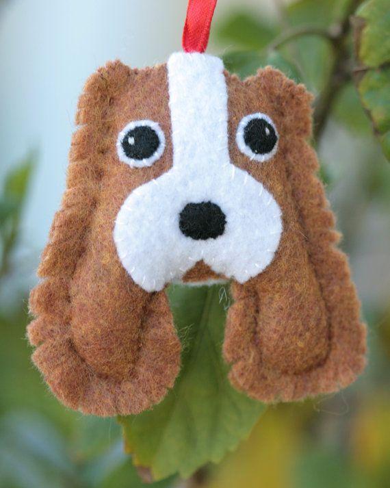 Felt Spaniel Dog Ornament by cockTHEshutter on Etsy, $16.00