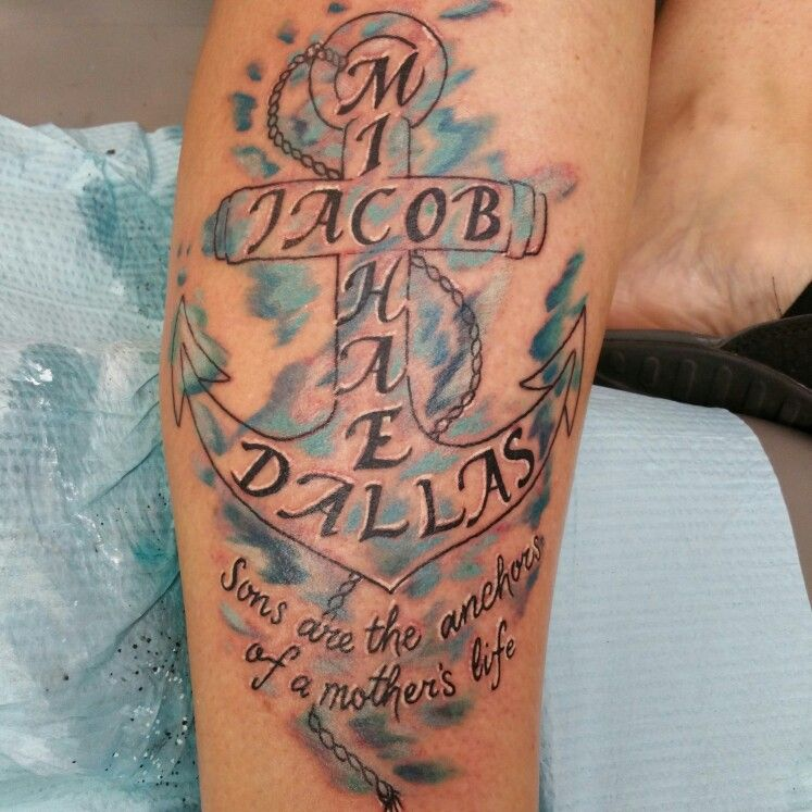 Watercolor Anchor Tattoo Of My 3 Sons Names Sons Are The
