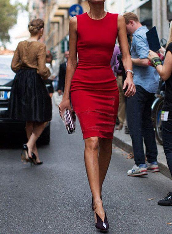 Bodycon Scoop Pure Color Sleeveless Knee-length Dress ...