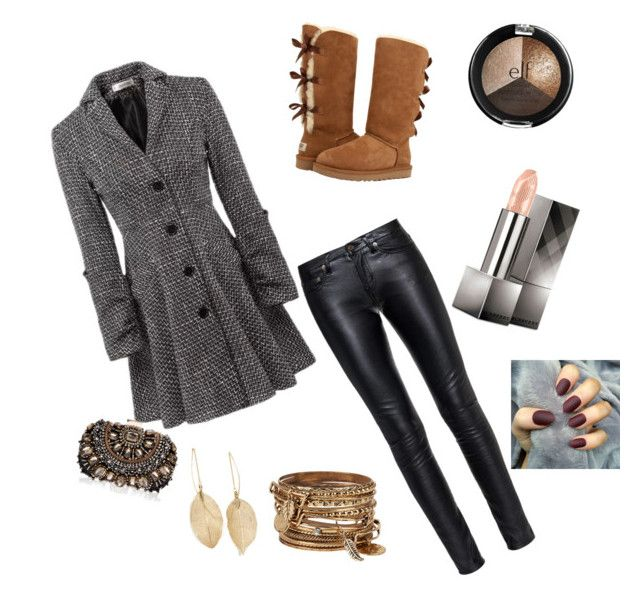 """""""A fall day"""" by nikkiengrave on Polyvore featuring Yves Saint Laurent, UGG Australia, Lipsy, Lulu*s, ALDO and Burberry"""