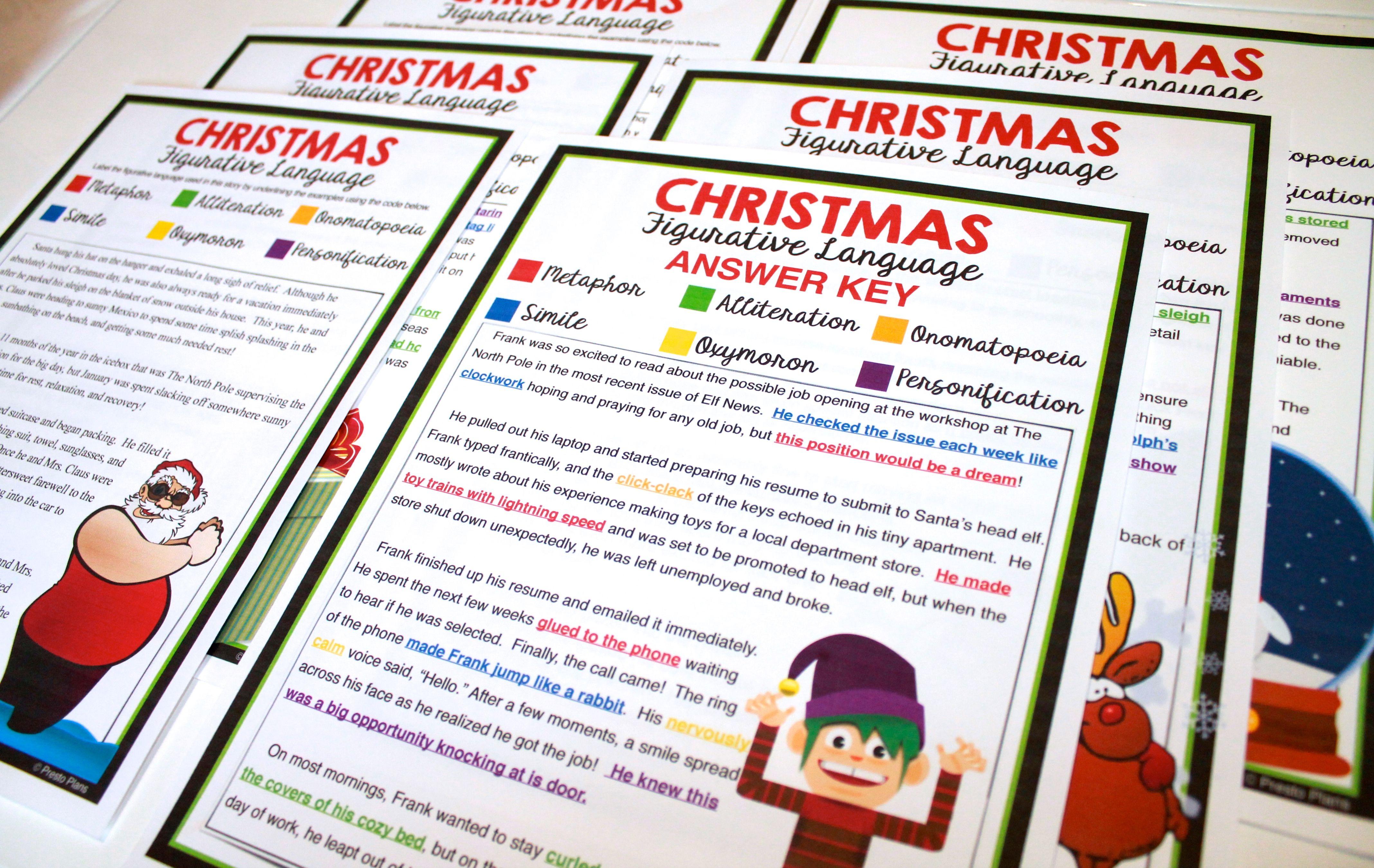 CHRISTMAS FIGURATIVE LANGUAGE - 5 STORIES | Figurative ...