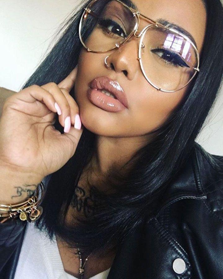 Oversized Gold Metal Frame Aviator Eyeglasses Clear Lens Designer ...