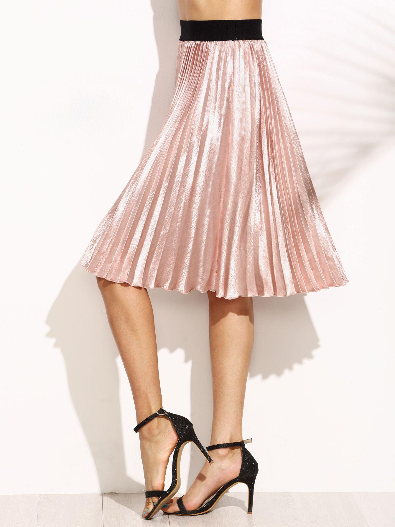 Contrast Waistband Pleated Satin Skirt | Satin skirt, Satin and ...