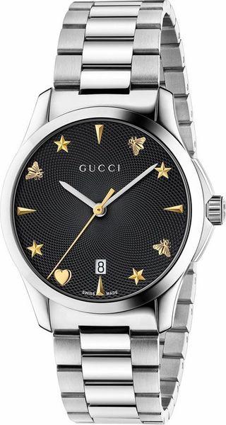 252cd9972f6 Gucci G-Timeless YA1264029 38mm Steel Case Steel Bracelet Black Guilloche  Dial Women s Watch