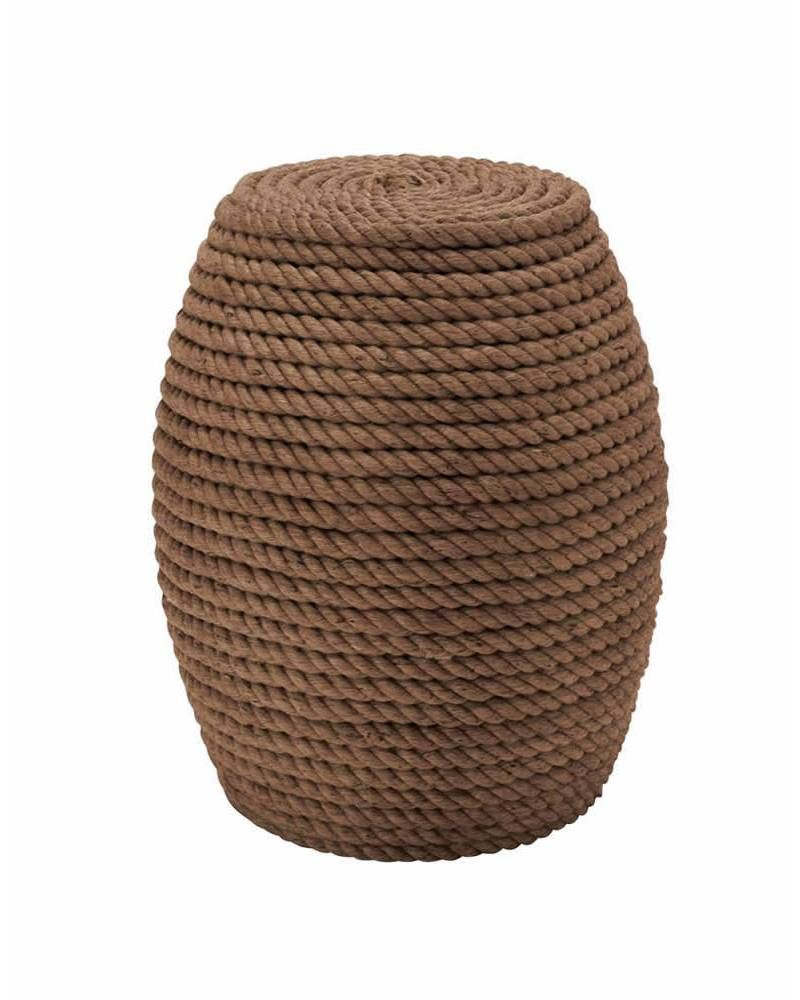 Wooden Barrel Shaped Stool with Braided Rope Accents - This classy and unique stool is made from wood and wound by ropes. The shape of this rope stool resemblances a drum. Beautiful and charming this rope stool will add a unique appeal to your home. This rope stool is also very sturdy. This rope stool will suit any ambience. Place it indoors or outdoors, this rope stool will garner loads of attention.