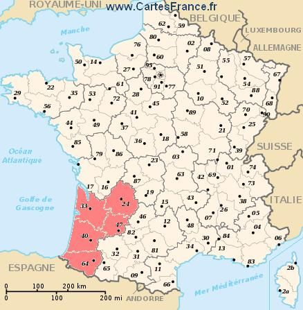 Aquitaine Region Of France Bordeaux France Map Map Alpes