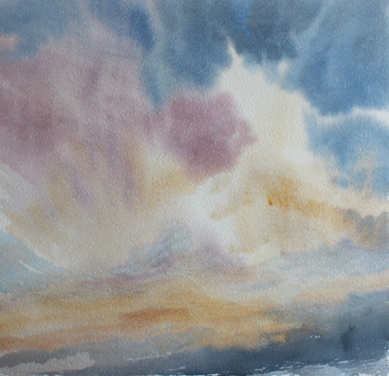Dramatic Sky Painting Big Sky Sunset Pink And Fluffy Clouds